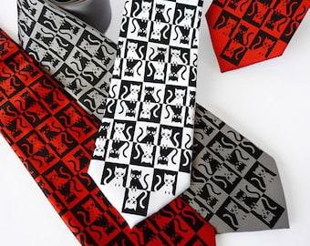 Schrodinger's Cat Necktie, Science Tie, Geek Necktie, Quantum Physics, Science Gift, Teacher Gift