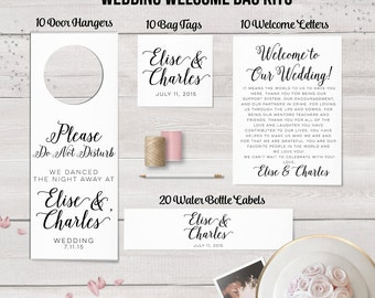 Wedding Welcome Bag Kit, Destination Wedding, Wedding Favors, Welcome Bags, Tags, Water Bottle Labels, Wedding Door Hangers, Thank You Notes