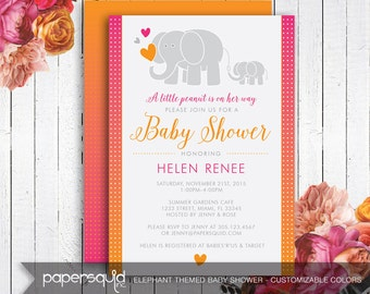 Elephant Baby Shower Invitation  - Customizable Colors - Digital Printable File - Item 162C by paper squid