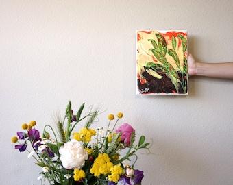 "Banana Leaf Plant Acrylic Painting on Canvas, Palm Leaf Yellow & Green Tropical Leaf Plant Decor Bohemian Housewarming Gift, Boho Art 8""x10"""