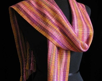 Handwoven Scarf Hand Dyed Bamboo Scarf Long Scarf Spring Scarf Shawl Wrap - Regency