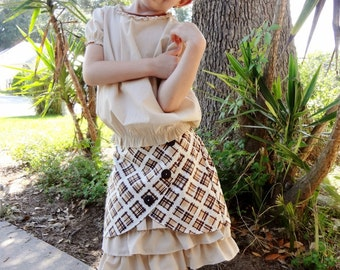 Beige and Brown Plaid Ruffled Skirt Set Toddler and Little Girls 2t - 10