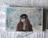 Snow Bird, Original Miniature Art, 4 x 6, Black Feather Mask, Snow Covered Trees, Girl, Blue Sky