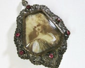 Reserved For J. Large Antique Victorian Hand Painted Miniature Portrait Pendant Brooch Of Marie Antoinette - 800 Silver - Pink Paste Stones