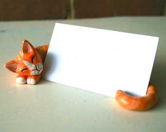 Clay Cat Business Card Holder CUSTOMIZED