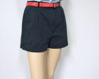 Vintage Shorts  Black Shorts High Waist Short Shorts Linen Look Women's Size 14 Petite