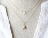 Sailboat Necklace - Boat Necklace - Gold Sailboat - Nautical Necklace - Beach Jewelry - Nautical Jewelry - Sailing - Layering Necklace