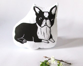 Plush Boston Terrier Pillow. Hand Woodblock Printed. Choose Any Color. Made to Order.