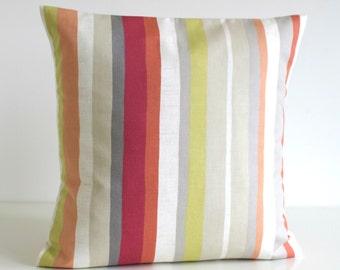 Stripe Pillow Cover, Orange Pillow, Accent Pillow, Stripe Cushion Cover, Pillowcase, Throw Pillows, Pillow Sham - Scandi Stripes Spice