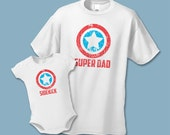 Super Dad and Sidekick Matching Shirts - Father Son Shirts (Set of 2) - Superhero Birthday Party - DISTRESSED Daddy Baby Shirt Set