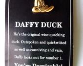 Daffy Duck, vintage tac pin, hat pin, Warner Bros, signed