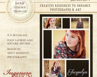 Senior Collage, Senior Girl Collage, Modern Collage, Modern Senior Girl Collage, CollageTemplates, Photoshop Template - Jackie 11x14 Collage