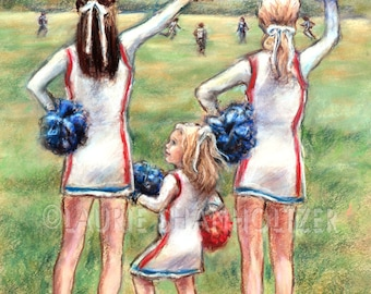 "Cheerleader Little girl sports Original pastel painting art for children ""Little Cheers, Big Dreams"" Laurie Shanholtzer 16x20"