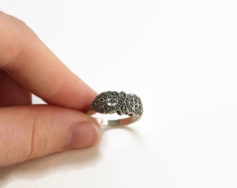 Vintage Art Deco Style Marcasite & Sterling Silver Ring