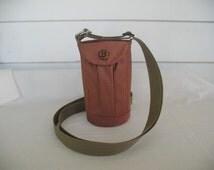 Water Bottle Holder Sling//Walkers Insulated Water Bottle Cross Body Bag// Hikers Water Bag-Red Brown
