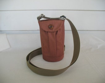 Water Bottle Holder Sling//Walkers Insulated Water Bottle Cross Body Bag// Hikers Water Bag-Red Brown