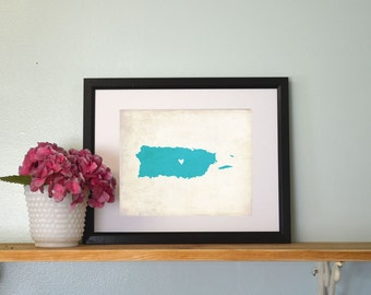 Puerto Rico Rustic Country Map. Personalized Puerto Rico Art. Personalized Country Map. Wedding Gift. Honeymoon Gift. 8x10 Art Print.