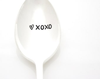 XOXO hand stamped spoon. Valentine's Day silverware by Milk & Honey. XO Spoon.