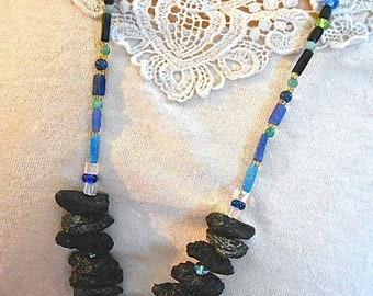 Tektite Necklace Long Tribal Black Volcanic Rock Tubes Beads of Blue Semi Precious Stones Silver Bugle Beads  Gift