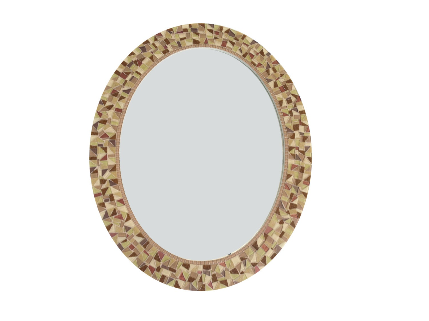 Brown wall mirror oval mosaic mirror decorative mirror for Fancy oval mirror