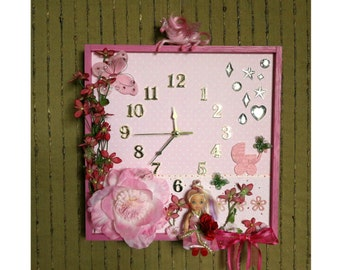 Unique Wall Clock, Nursery Décor Wall Art, Baby Shower Gift, Girls First Birthday, Pink Artificial Flower, Nchanted Gifts OOAK