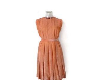 Vintage Orange metallic Sleeveless Casual Dress from 1960's*