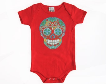 Red Sugar Skull Trendy baby clothes Hippie Baby 0 3 6 9 12 18months Baby Shower gift boy girl Halloween baby dia de los muertos shirt