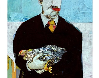 FINE ART PRINT Hand Signed - Man With Chicken - 2015 (Edition)