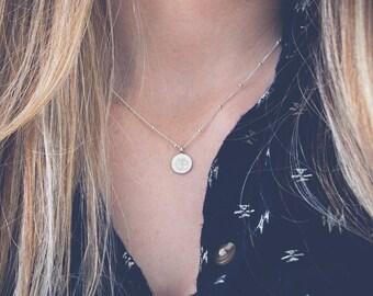 Om Necklace | Sterling silver Om necklace, Yoga jewelry, Tiny necklace, Silver charm necklace, Meditation necklace, Silver disc necklace