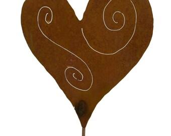 Heart Metal Garden Stake, Yard Art GS24