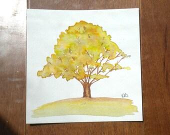 Yellow Fall Tree, Original Watercolor Painting