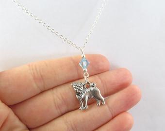 Pug Necklace- choose a birthstone, Pug Pendant, Pug Birthstone, Pug Jewelry, Pug Charm, Dog Necklace, Dog Jewelry, Pug Dog, Pug Gift