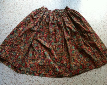 Paisley and Flower Multicolored Skirt 1970s