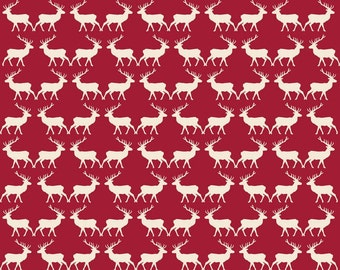 Deer Fabric, Riley Blake Postcards For Santa, C4753 Red Reindeer Fabric, My Mind's Eye, Red Christmas Quilt Fabric, Cotton