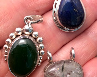 Small Sterling Silver Pendant. California Jade or Blue Lapis free US ship