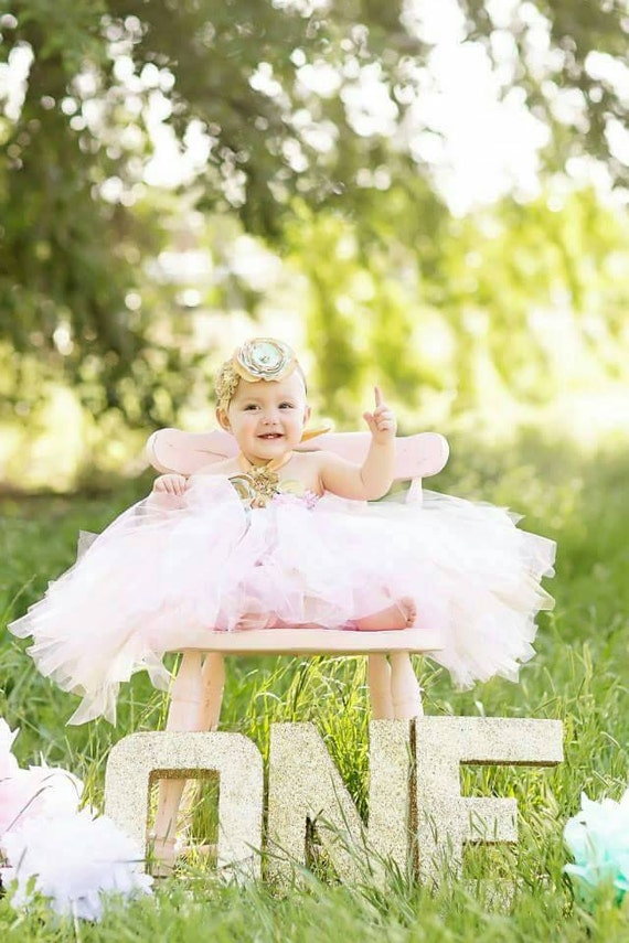 Gorgeous Beautiful Mint Pink and Gold Satin Shabby Chic Flower Tutu Dress for Baby Girl 6-18 Months old First Birthday