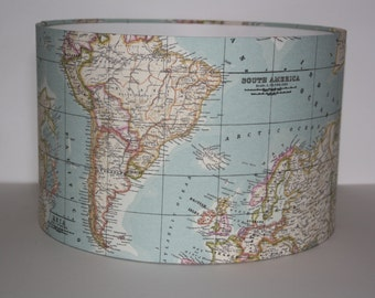 Drum Lampshade Map/ ceiling lampshade/ table lamp/ modern lampshade.