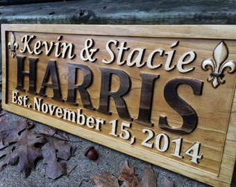 Personalized Family Name Signs Custom Wedding Gift Wood Carved Sign Last Name Established Wood Plaque Couple Anniversary Fleur De Lis Décor