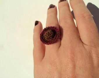 Crocheted Flower Adjustable Ring