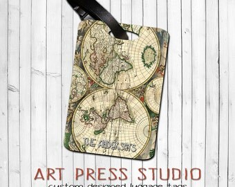 Vintage Old World Map Luggage Tag,  Personalized Vintage Map Bag Tag, Antique Map Luggage Tag