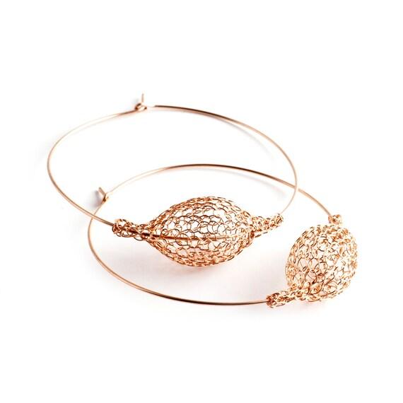 Rose gold hoop earrings extra large hoop earrings handmade wire crochet earrings giant hoops  Gypsy bohemian fashion