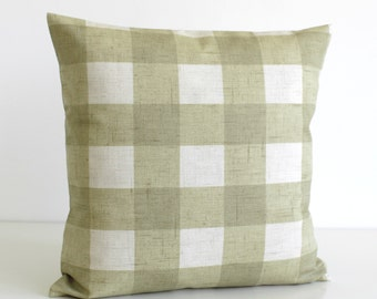 Shabby Chic Pillow Cover, Gingham Cushion Cover, Shabby Chic Pillow Sham, 20 Inch Throw Pillow, 20x20 Sofa Pillow Cover - Gingham Sage