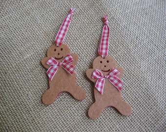 Gingerbread Boy Felt Ornaments, Christmas Tree Ornaments, Set of TWO, Red & Brown Ornaments, Rustic Primitive Decor, Holidays SnowNoseCrafts