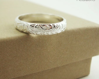 Sterling Silver Band - Silver Stacking Ring - Floral Band - Wedding Ring - Promise Ring - Commitment Ring