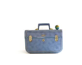 Blue Vintage Train Case, Small Vintage Suitcase, Vintage Luggage by Taperlite