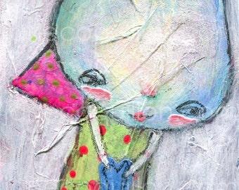 Feeling Blue, archival art print, mixed media art painting