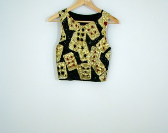 Black / Golden Sequence Sparkle Poker Cards Tank Crop Top