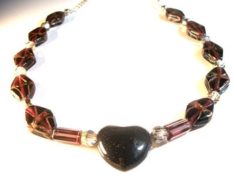 Goldstone Purple Heart and Glass Golden Diamonds Collar Style Necklace Fashion Jewelry for Women