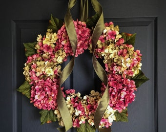 Wreaths | Blended Hydrangea Wreath | Front Door Wreaths | Shabby Chic Decor | Spring Wreath | Wreaths for Front Door | Housewarming Gift