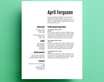Resume Template, instant download with cover letter, editable in Word